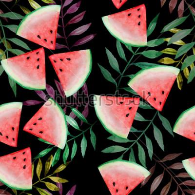 Fototapete Wassermelonenscheibe mit nahtlosem Muster des tropischen Blattes auf schwarzem Hintergrund, Aquarellmalerei, Design für glückliches Sommerferienkonzept.