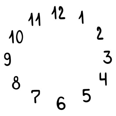 Watch dial. A set of numbers arranged in a circle. Vector illustration. Contour on an isolated white background. Doodle style. Sketch. Time. Design element. Scale. Collection.
