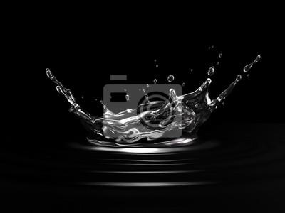 Fototapete Water crown splash. On black background. Side view.