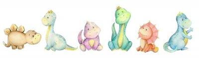 Fototapete watercolo,  little dinosaur. isolated set