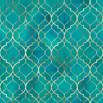 Fototapete Watercolor abstract geometric seamless pattern. Arab tiles. Kaleidoscope effect. Watercolour vintage mosaic texture