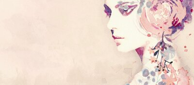 Fototapete Watercolor abstract portrait of girl. Fashion background.