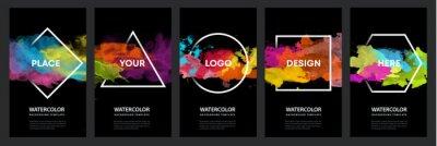 Fototapete Watercolor black background over geometric frame vector design headline, logo and sale banner template set