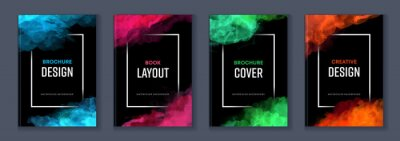 Fototapete Watercolor booklet brochure colourful abstract layout cover design template bundle set with black background and frame