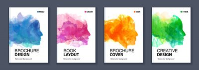 Fototapete Watercolor booklet colourful cover bundle set with head profile silhouette
