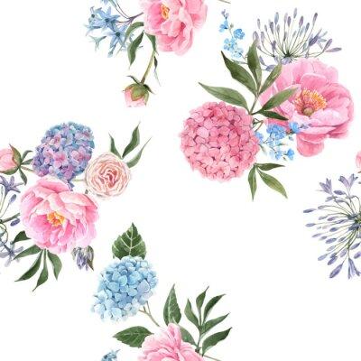 Fototapete Watercolor floral bouquet seamless vector pattern