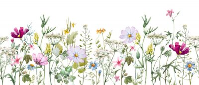 Fototapete Watercolor floral pattern