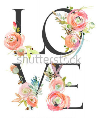 Fototapete watercolor flower background. love