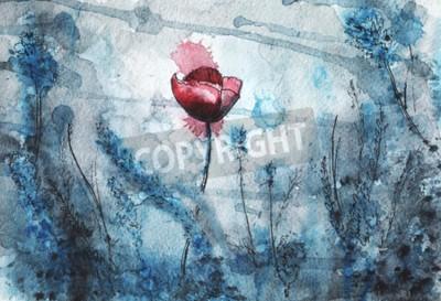 Fototapete watercolor illustration. red poppy flower