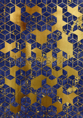 Fototapete Watercolor marble background with geometric cube pattern.