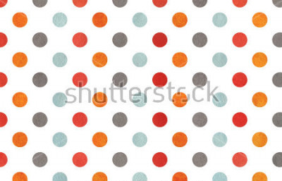 Fototapete Watercolor orange, blue, red and grey polka dot background. Texture with colorful polka dots for scrapbooks, wedding, party or baby shower invitations.