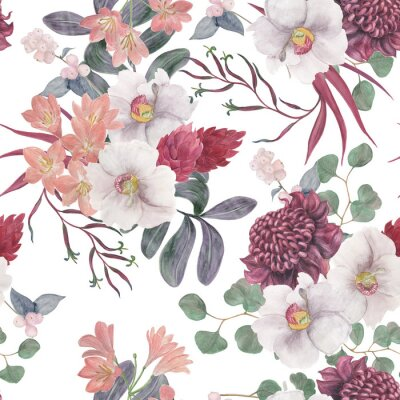 Fototapete Watercolor painting seamless pattern with exotic flower and tropical leaves