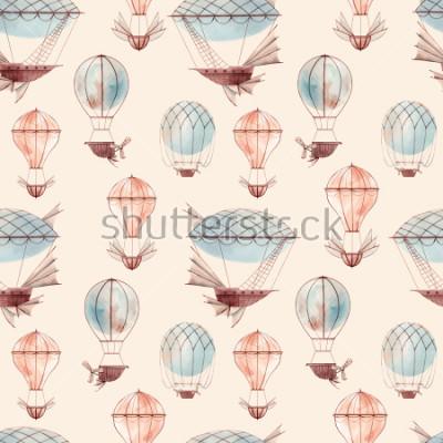 Fototapete Watercolor pattern retro balloon, flying ship, baby wallpaper. retro wallpaper