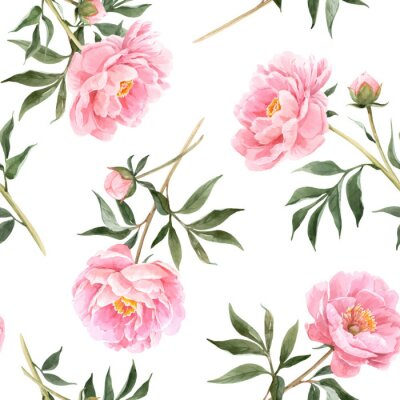 Fototapete Watercolor peony seamless vector pattern