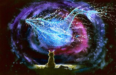 Fototapete Watercolor picture of a cat and whale constellation