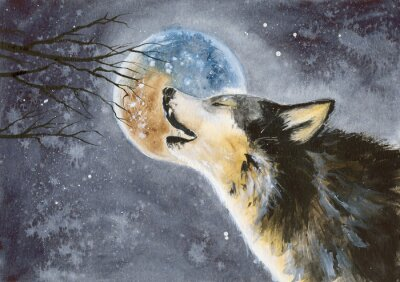 Fototapete  Watercolor picture of a wolf with a moon on the background, snow and tree