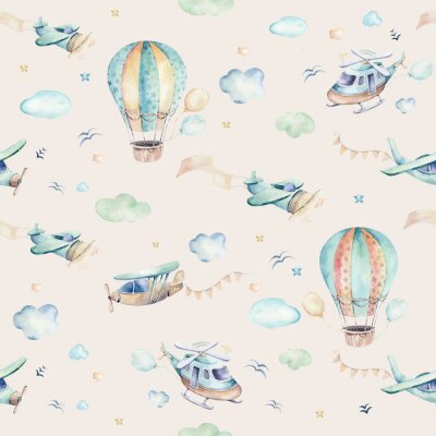 Fototapete Watercolor set background illustration of a cute cartoon and fancy sky scene complete with airplanes, helicopters, plane and balloons, clouds. Boy seamless pattern. It's a baby shower design