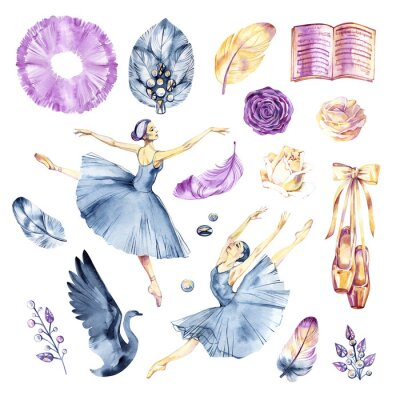 Fototapete Watercolor sketch. Ballet accessories, pointes and skirt. Print elements.