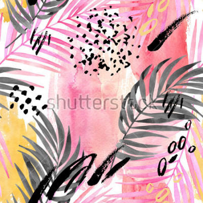 Fototapete Watercolor tropical leaves seamless pattern. Watercolour pink colored and graphic palm leaf painting with minimal elements on color stains background. Hand painted art illustration for summer design.