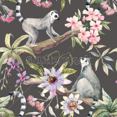 Fototapete Watercolor tropical pattern with lemurs, passionflower, eucalyptus, Pink oleander, orchid and palm leaves