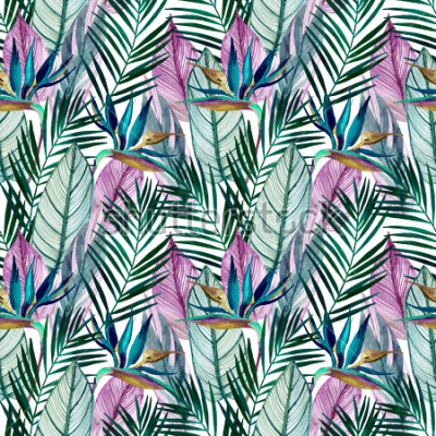 Fototapete Watercolor tropical seamless pattern with bird-of-paradise flower, palm leaves. Exotic flowers, leaves on light background. Hand painted natural illustration