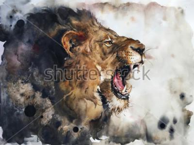 Fototapete Watercolour painting of lion