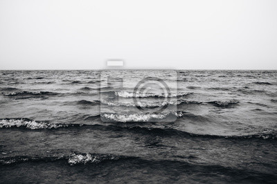 Fototapete waves in the sea black and white photo