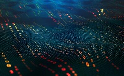Fototapete Waves of computer code. Binary code big data. Information field, binary code, data encoding, data flow, digital security. Internet technology 3d illustration
