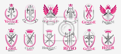 Fototapete Weapon emblems vector emblems big set, heraldic design elements collection, classic style heraldry armory symbols, antique knives armory arsenal compositions.