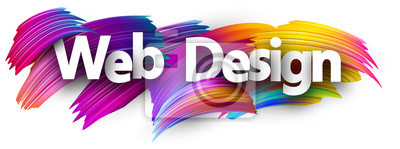 Fototapete Web design paper poster with colorful brush strokes.