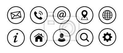 Fototapete Web Kontakt Symbole