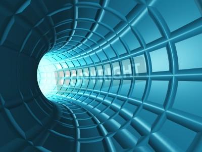 Fototapete Web Tunnel - Ein radialer Tunnel mit einer perspektivischen Bahn wie Raster.