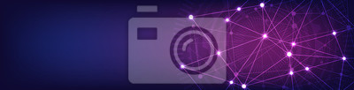 Fototapete Website header or banner design with abstract geometric background and connecting dots and lines. Global network connection. Digital technology with plexus background and space for your text.
