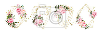 Fototapete Wedding floral geometric triangular frame