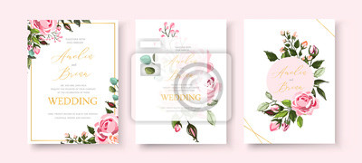 Fototapete Wedding floral golden invitation card save the date design with pink flowers