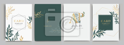 Fototapete Wedding Invitation, floral invite thank you, rsvp modern card Design in Flower with leaf greenery  branches decorative Vector elegant rustic template