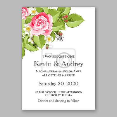 Fototapete Wedding Invitation Template Design Wreath Rose Romantic Pink