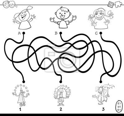 Wege labyrinth mit clowns malbuch fototapete • fototapeten Rätsel ...