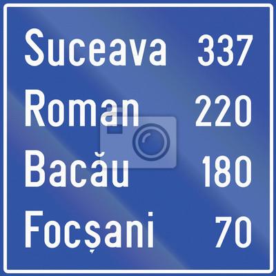 Wegweiser mit Distanz zu Zielen in Rumänien
