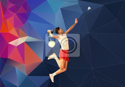 Weiblich Badmintonspieler während Smash