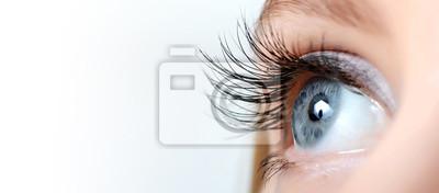 Fototapete Weibliche Auge mit langen Wimpern close-up