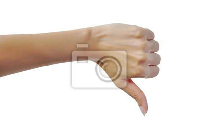 Weibliche Hand mit Daumen nach unten