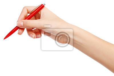 Weibliche Hand schriftlich mit einem roten Stift