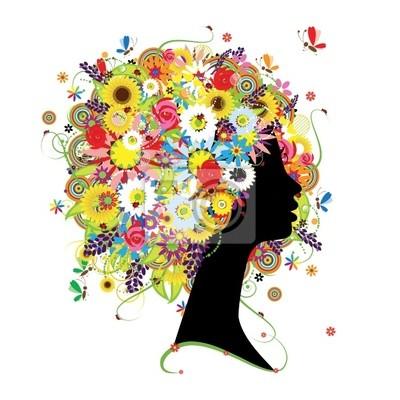Weibliche Profil, floral Frisur für Ihren Entwurf