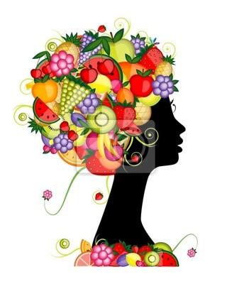 Weibliche Profil Silhouette, Frisur mit Früchten für Ihren Entwurf