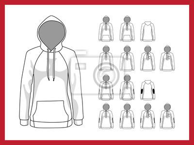 Weibliche vektor-vorlage sweatshirt mit kapuze und raglan-ärmel ...