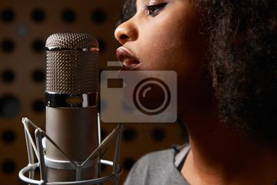 Fototapete Weibliche Vocalist In Recording Studio