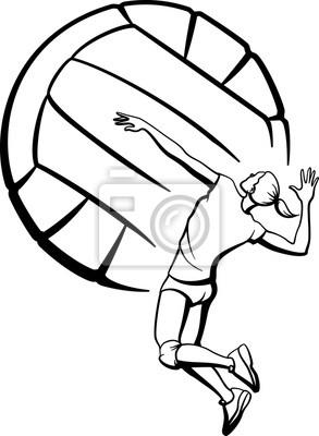 Weibliche Volleyball Spiking mit Ball