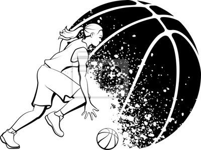 Weiblicher Basketball Dribble Grunge