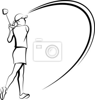Weiblicher Golfspieler mit Swooping-Linien